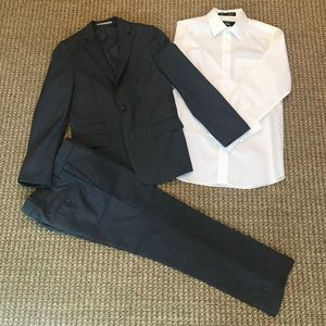 Boys Charcoal Grey Suit with White Dress Shirt